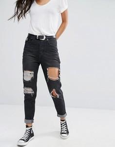 Рваные джинсы с отворотами Boohoo - Черный