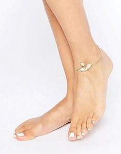 Цепочка на щиколотку с подвеской-листочком ASOS - Золотой