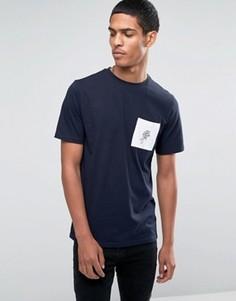 Футболка с розой на контрастном кармане Hoxton Denim - Темно-синий