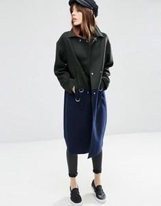 Oversize-пальто в стиле колор блок с добавлением шерсти с D‑образными кольцами ASOS - Мульти
