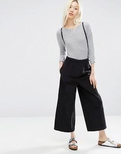 Широкие темно-серые брюки из вельвета ASOS - Серый