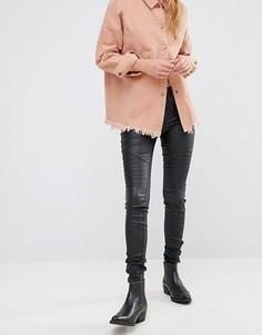 Зауженные джинсы в байкерском стиле с классической талией Only Royal - Черный