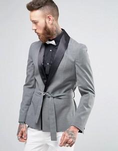 Серый облегающий пиджак ASOS - Черный