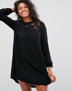 Свободное платье с горловиной кроше Brave Soul - Черный