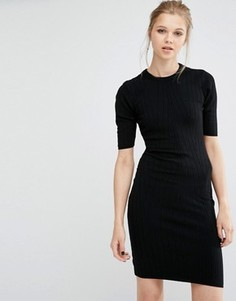 Облегающее трикотажное платье в рубчик Y.A.S Boni - Черный