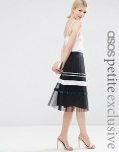 Плиссированная юбка миди с полоску металлик ASOS PETITE - Черный