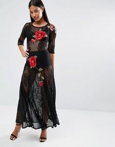 Кружевное платье макси с цветочной вышивкой Boohoo - Черный