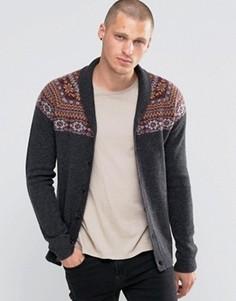 Кардиган на основе овечьей шерсти с узором Фэйр-Айл на кокетке ASOS - Серый
