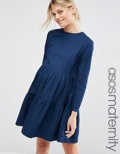 96402bb6f6ee Джинсовое платье для беременных с присборенной юбкой ASOS MATERNITY - Синий