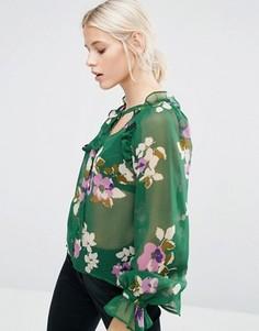 Зеленая блузка с цветочным принтом и оборками ASOS - Мульти