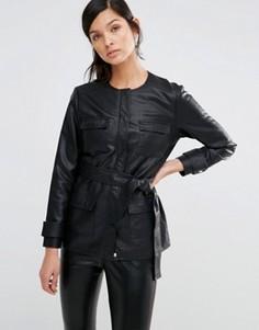 Куртка в стиле милитари из искусственной кожи Neon Rose - Черный