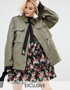 Куртка в стиле милитари с завязками на манжетах и шее Reclaimed Vintage - Зеленый