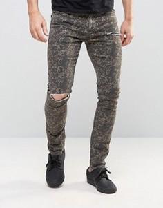 Камуфляжные супероблегающие джинсы с рваными коленями ASOS - Зеленый