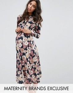 Платье миди с бантиком для беременных Bluebelle Maternity - Мульти