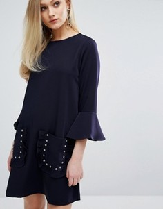 Цельнокройное платье с оборками на рукавах Sister Jane - Темно-синий