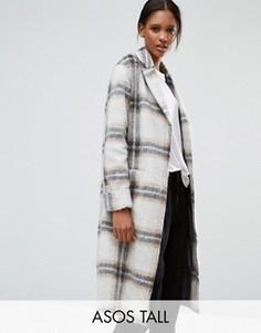 Клетчатое пальто из шерстяной смеси с отворотами на рукавах ASOS TALL - Мульти
