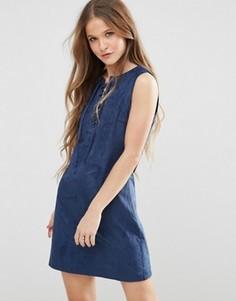 Платье в замшевом стиле со шнуровкой спереди Madam Rage - Темно-синий