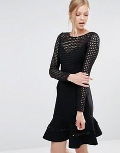 Бандажное платье с оборкой на подоле Forever Unique Silvia - Черный