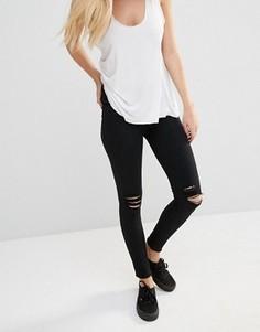 Рваные супероблегающие джинсы с классической талией Dr Denim Lexy - Черный