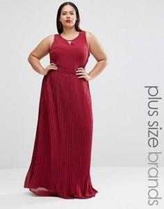 Платье макси размера плюс с плиссированной юбкой Lovedrobe - Фиолетовый