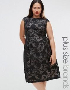 Платье с кружевным принтом Lovedrobe Plus - Черный
