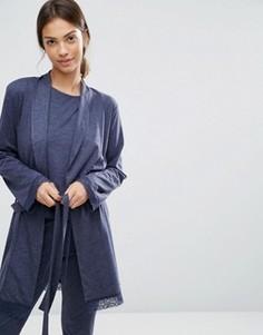 Халат с длинными рукавами и кружевной отделкой ASOS - Темно-синий
