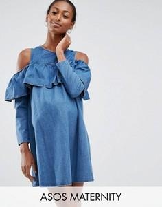 Джинсовое платье с открытыми плечами ASOS Maternity - Синий