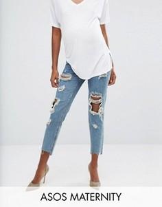 Рваные джинсы в винтажном стиле для беременных ASOS Maternity - Синий