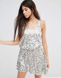 Платье мини с пайетками Walter Baker Anita - Серебряный