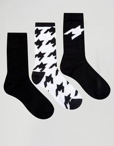 3 пары носков в ломаную клетку ASOS - Черный