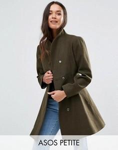 Короткое приталенное пальто с воротником-трубой ASOS PETITE - Зеленый