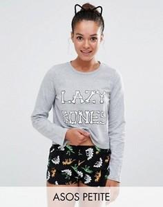 Пижамный комплект с шортами и футболкой Lazy Bones ASOS PETITE - Мульти