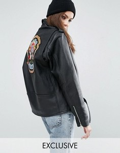 Кожаная байкерская куртка с нашивкой из пайеток Guns N Roses Reclaimed Vintage Revived - Черный