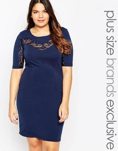 Облегающее платье с кружевной вставкой Junarose - Темно-синий