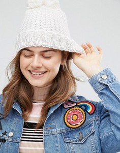 Вязаная шапка с помпоном Boardmans - Розовый Boardwalk