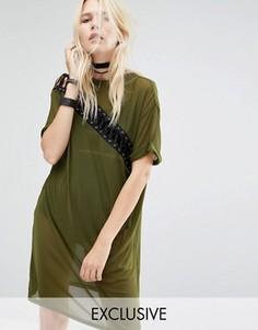 Платье-футболка со шнуровкой и сеточкой Story Of Lola - Зеленый