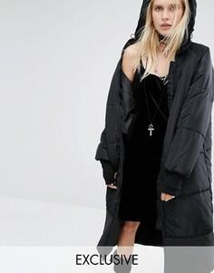 Дутая куртка макси с капюшоном Story Of Lola - Черный