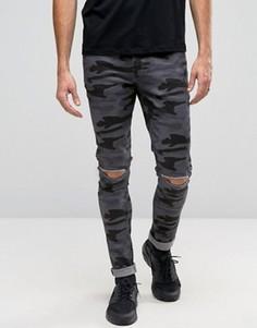 Супероблегающие камуфляжные джинсы с рваными коленями ASOS - Черный