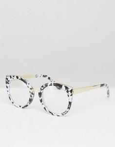 Очки с черно-белой ацетатной оправой под мрамор и прозрачными стеклами ASOS Geeky Kitten - Черный