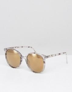 Круглые солнцезащитные очки в тонкой оправе с эффектом мрамора ASOS - Серый