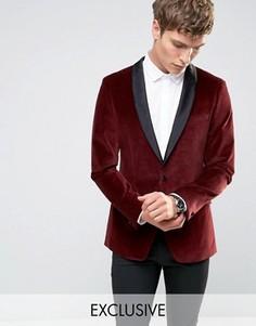 Бархатный пиджак‑смокинг с атласными лацканами Number Eight Savile Row - Красный