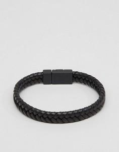 Черный плетеный браслет из искусственной кожи ASOS - Черный
