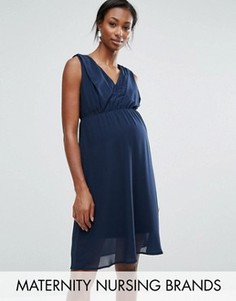 Короткое приталенное платье для кормления без рукавов Mamalicious - Темно-синий Mama.Licious