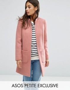 Пальто из смесовой шерсти ASOS PETITE - Розовый
