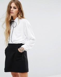 Oversize-рубашка с завязкой на горловине Motel - Белый
