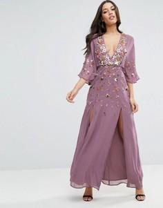 Платье макси с рукавами-кимоно и декоративной отделкой ASOS - Фиолетовый