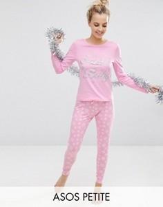 Новогодняя пижама с лонгсливом и леггинсами ASOS PETITE Santa Baby - Розовый