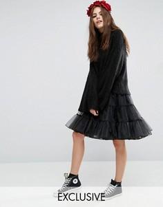 Юбка миди из тюля Reclaimed Vintage - Черный