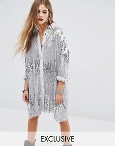 Длинная оversize-рубашка с серебристыми пайетками Religion - Серебряный