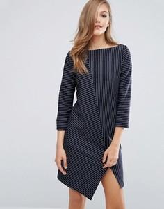 Платье в полоску с асимметричным краем Sisley - Темно-синий
